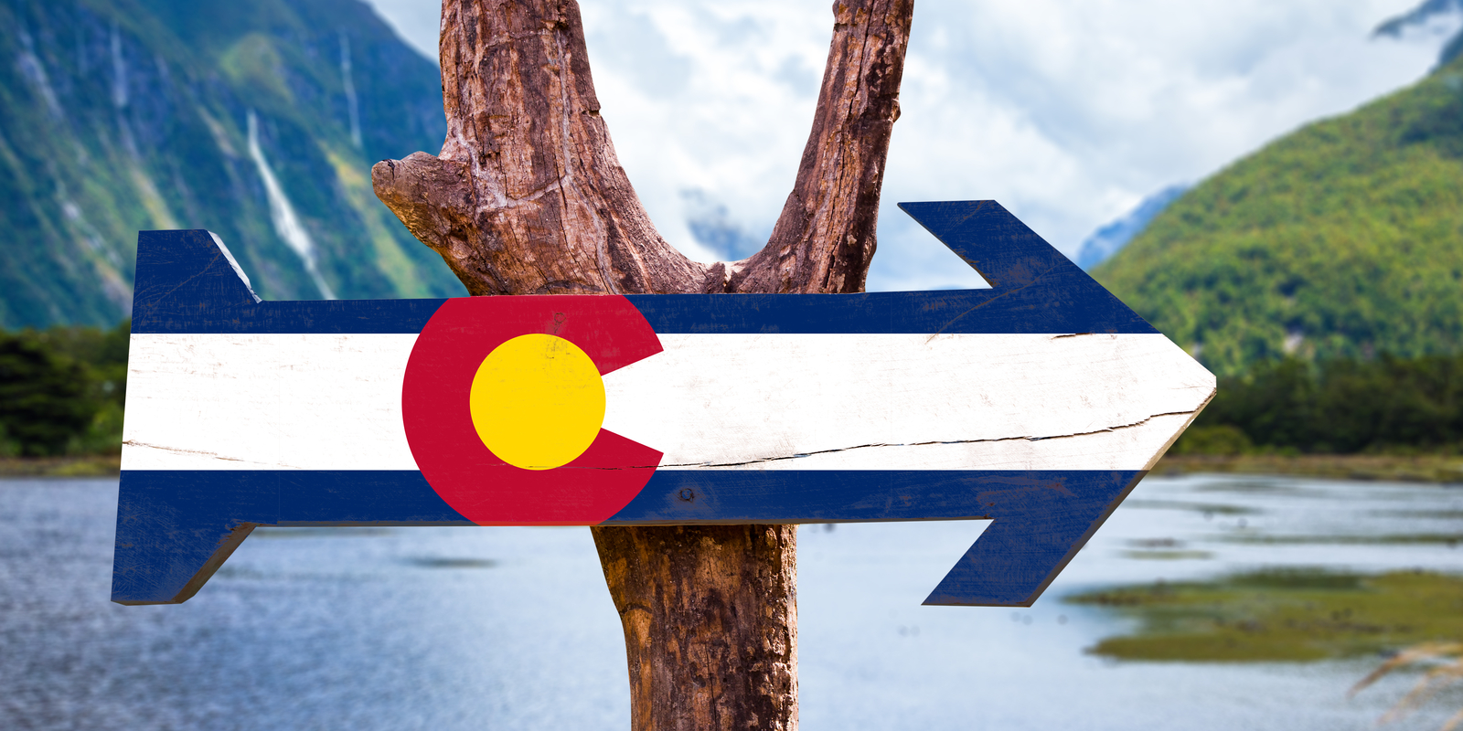 Colorado Flag on Wooden Post - Denver Summer Activities